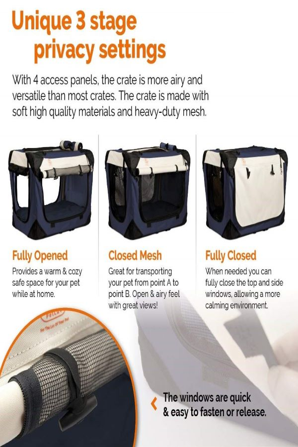 PetLuv-Happy-Cat-Premium-Soft-Sided-Travel-Crate-Cat Carrier-for-long-distance-car-travel